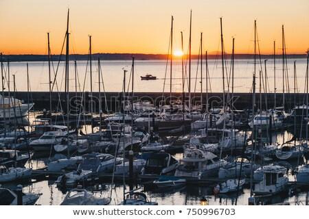 luxe · zeil · boten · zonsondergang · mooie · oranje - stockfoto © joyr