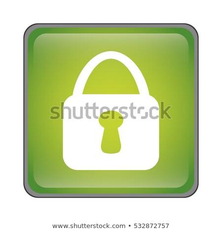 Flat closed padlock icon over green Stock photo © Anna_leni