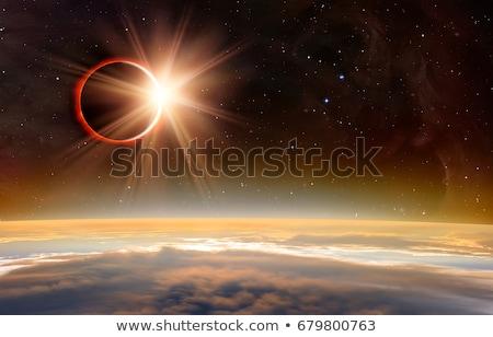 Nap fogyatkozás képzeletbeli űr piros kép Stock fotó © alexaldo