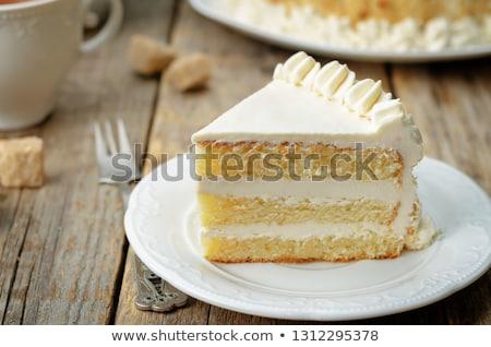 Vaniglia pezzo torta primo piano blu alimentare Foto d'archivio © OleksandrO