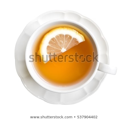 tasse · thé · vert · citron · rustique · table · en · bois · feuille - photo stock © barbaraneveu