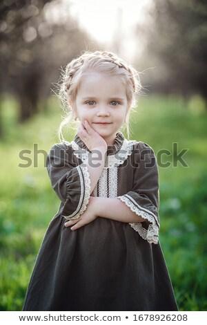Mały dziewczyna tradycyjny sukienka łące dziewczynka Zdjęcia stock © maros_b