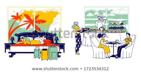 glimlachende · vrouw · vergadering · bed · ontbijt · vrouw · huis - stockfoto © deandrobot