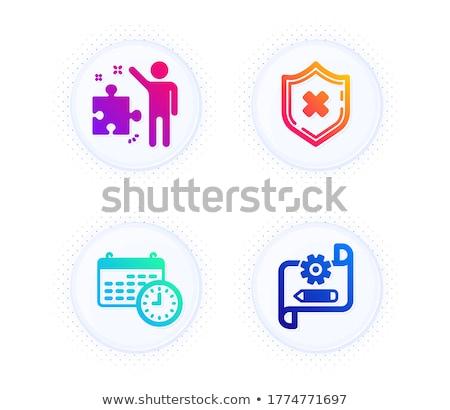 File Protection on Blueprint of Cogs. Stock photo © tashatuvango