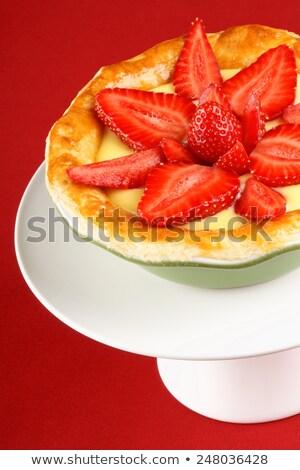 Aardbei vla taart groene schotel Stockfoto © aladin66