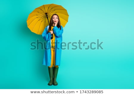 Stock photo: Woman With Umbrella And Raincoat On The Puddle