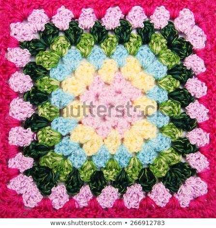 Multicolored Plaid Square Of Crocheted Foto d'archivio © Es75