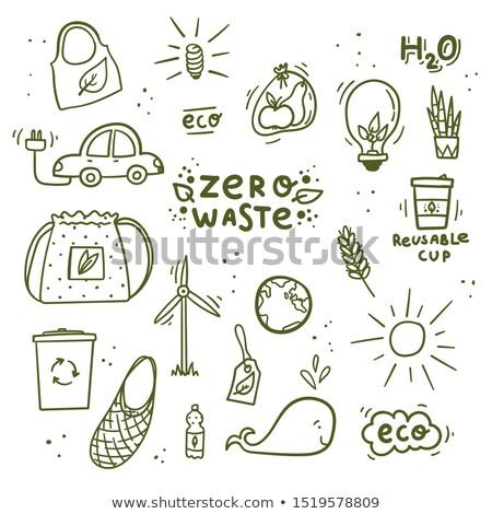 Garabato coche eléctrico dibujo eco verde amistoso Foto stock © netkov1
