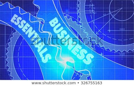 Business Essentials on the Cogwheels. Blueprint Style. Stock photo © tashatuvango