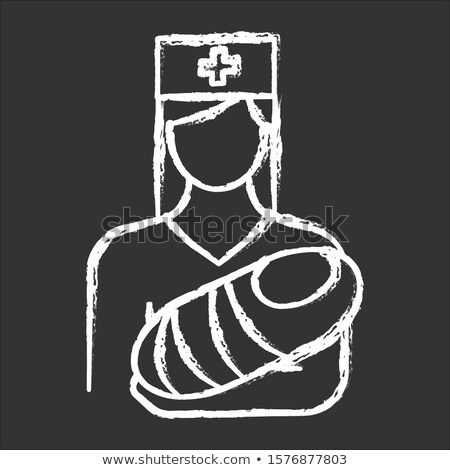 woman nursing the baby icon drawn in chalk stock photo © rastudio