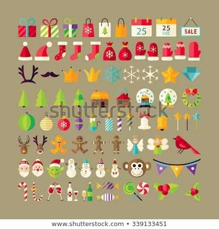 Design Noël elf cercle icône longtemps Photo stock © Anna_leni