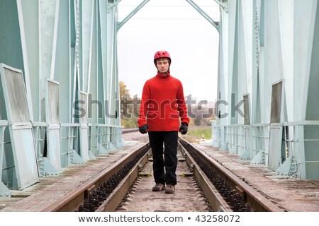 férfi · munkás · sisak · híd · fém · kék - stock fotó © Paha_L