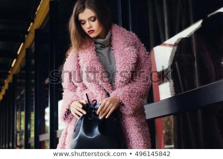 Mooie mode model pels straat kunstmatig Stockfoto © adamr