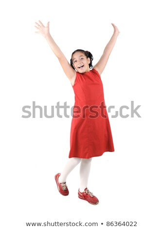 Adorable  preteen school  girl wearing red dress isolated, posing Stock photo © zurijeta