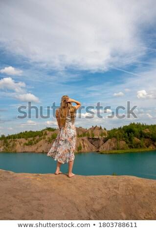 donna · nera · sera · abito · bella · donna · indossare · blu - foto d'archivio © konradbak
