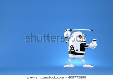 robot with katana on blue background contains clipping path stock photo © kirill_m