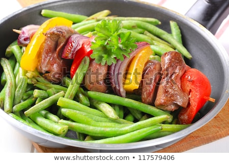 Liver skewer with green beans Stock photo © Digifoodstock