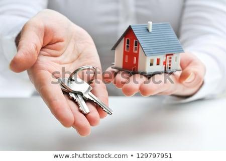 Ingatlanügynök ikon szett ház férfi háttér üzletember Stock fotó © Genestro