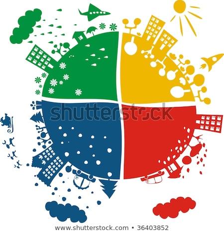 vier · globes · kleuren · wereldbol · kaart - stockfoto © dayzeren