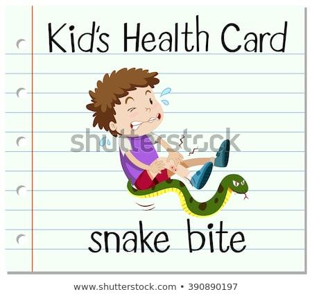 Saúde cartão menino serpente morder ilustração Foto stock © bluering