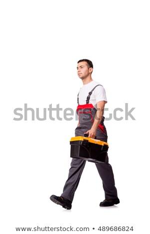 Jonge man toolbox geïsoleerd witte business man Stockfoto © Elnur