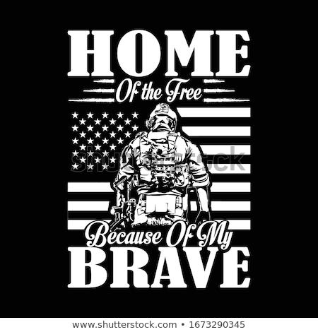 Bátor katonaság katona illusztráció fehér háttér Stock fotó © bluering