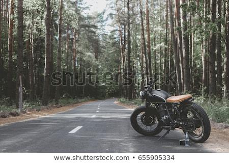 Retro motorfiets permanente woestijn weg fiets Stockfoto © deandrobot
