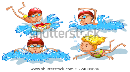 A plain sketch of a man swimming Stock photo © bluering