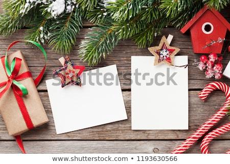 karácsony · fotó · keret · kettő · fotók · kártyák - stock fotó © marimorena