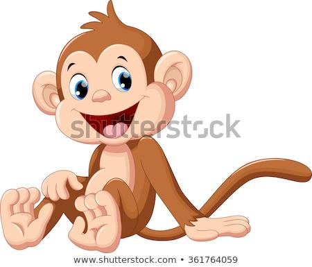 macaco · convite · ilustração · bonitinho · desenho · animado · sorrir - foto stock © doomko