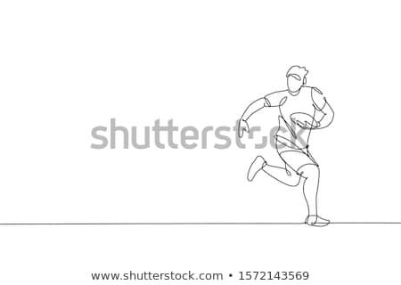Simple dibujo jóvenes rugby jugador ilustración Foto stock © bluering