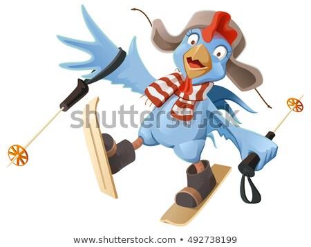 Azul galo símbolo desenho animado galo frango Foto stock © orensila