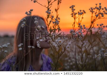 Nő tavaszi virágok természet portré gyönyörű fiatal nő Stock fotó © dariazu