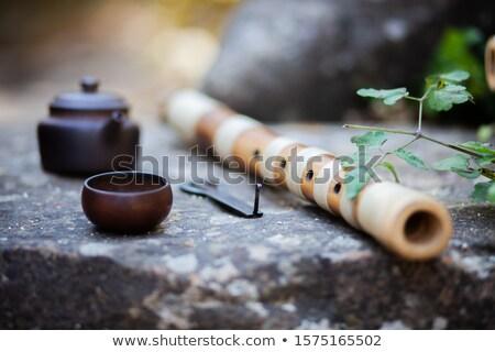 Bambusz furulya indiai szubkontinens zene fa háttér Stock fotó © bdspn