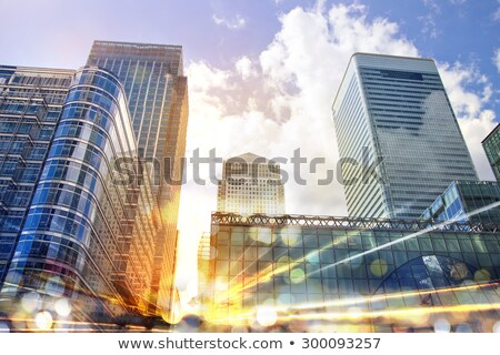 Stok fotoğraf: London Financial District Traffic At Sunset