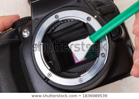 Camera sensor schoonmaken man glas digitale Stockfoto © mady70