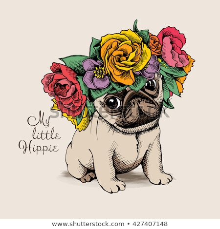Foto stock: Hermosa · niña · floral · cabeza · hermosa · rubio