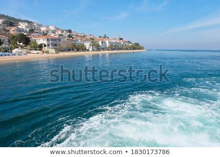 török · jacht · kikötő · zászlók · kék · ég · vitorlázik - stock fotó © xantana