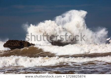 Oceaan storm bliksem onweerswolken boven zee Stockfoto © solarseven