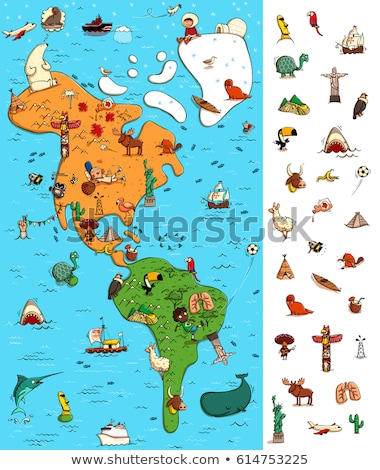Map of America Visual Game. Locate isolated items on a map. Stock photo © VOOK