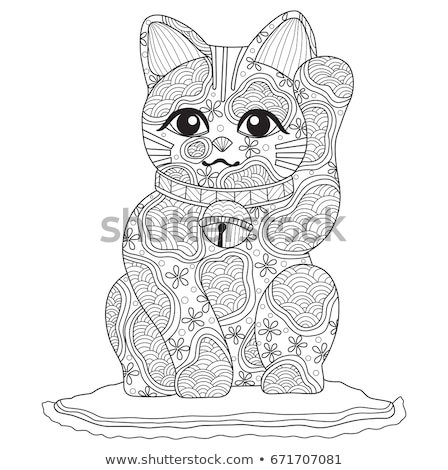 Vector line art style illustration of Japanese Lucky Cat Maneki  Stock photo © curiosity