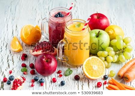 Bogyós gyümölcs üveg reggeli fehér életstílus friss Stock fotó © M-studio