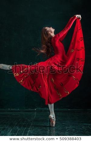 Stockfoto: Ballerina · poseren · schoenen · zwarte · houten · rode · jurk