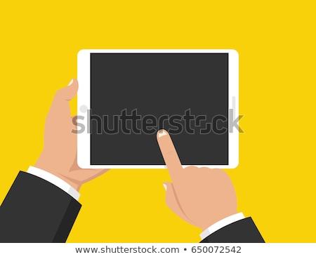 Kéz tart tabletta művészet okostelefon iskola Stock fotó © Sibstock