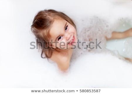 menina · espuma · bastante · banho · feliz - foto stock © galyna_tymonko