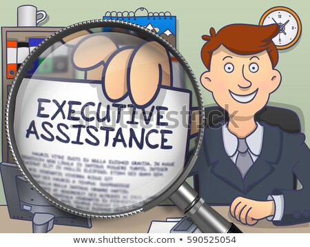 Executive Assistance through Magnifying Glass. Doodle Style. Stock photo © tashatuvango