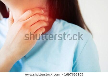 Chronic tonsillitis. Medical Concept on Red Background. Stock photo © tashatuvango