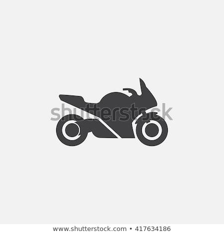икона мотоцикл черный силуэта мотоцикле дороги Сток-фото © Olena