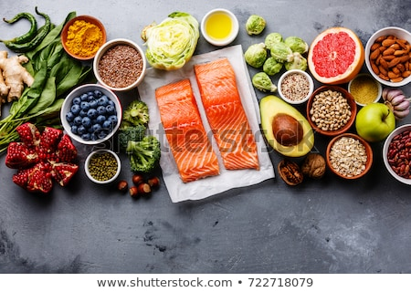 лосося овощей изолированный гриль кремом соус Сток-фото © smitea
