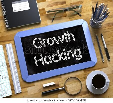 Groei hacking tekst klein schoolbord 3D Stockfoto © tashatuvango